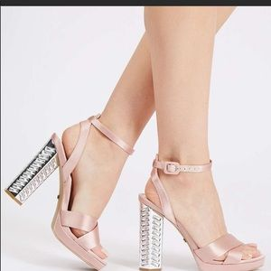 TOPSHOP Luna shoe - pink satin with jeweled heel